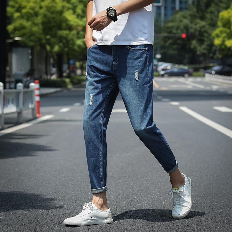 calças de brim h5oJG moda Primavera 9VzNP leggings apertadas calças jeans apertadas dos homens-coreano estilo estudante de verão slim-fit e versátil ankl moda casual