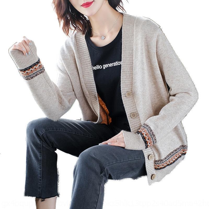 Pizár GCkAU 2020 Frühling und Herbst der neuen Frauen Strickjacke koreanische lose Strickwaren für Frauen Mantel Strickwaren Frühjahr und Herbst Artmantel für Pullover