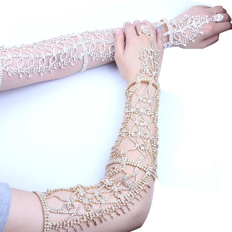 anel de corrente para trás mão bracelete de cristal strass Europeia de luxo de casamento da noiva pulseira Bangles nupcial Jóias Luva Acessórios para casamentos