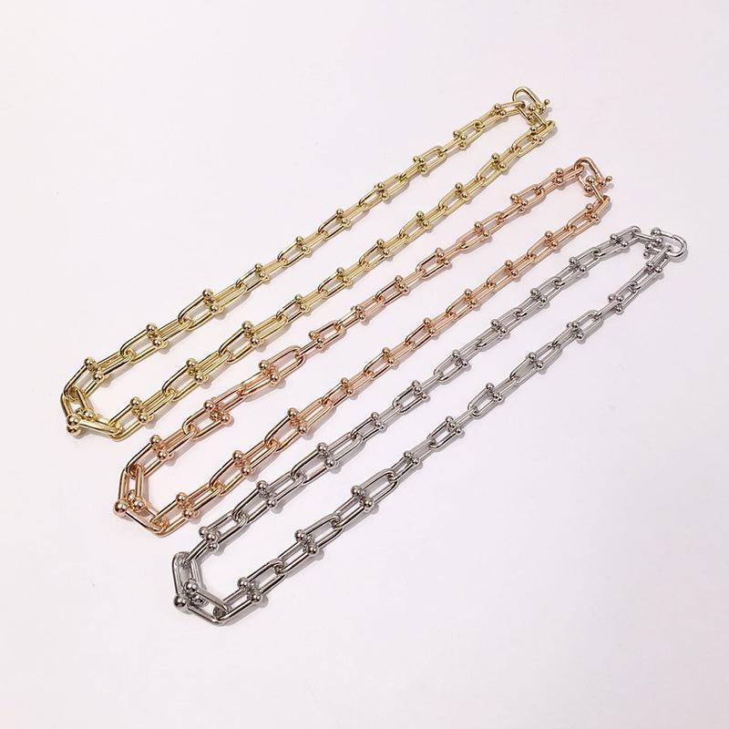 De haute qualité en acier inoxydable U forme de verrouillage Couleur de la chaîne d'argent en or rose Colliers chaîne épais pour les femmes et les hommes Bijoux