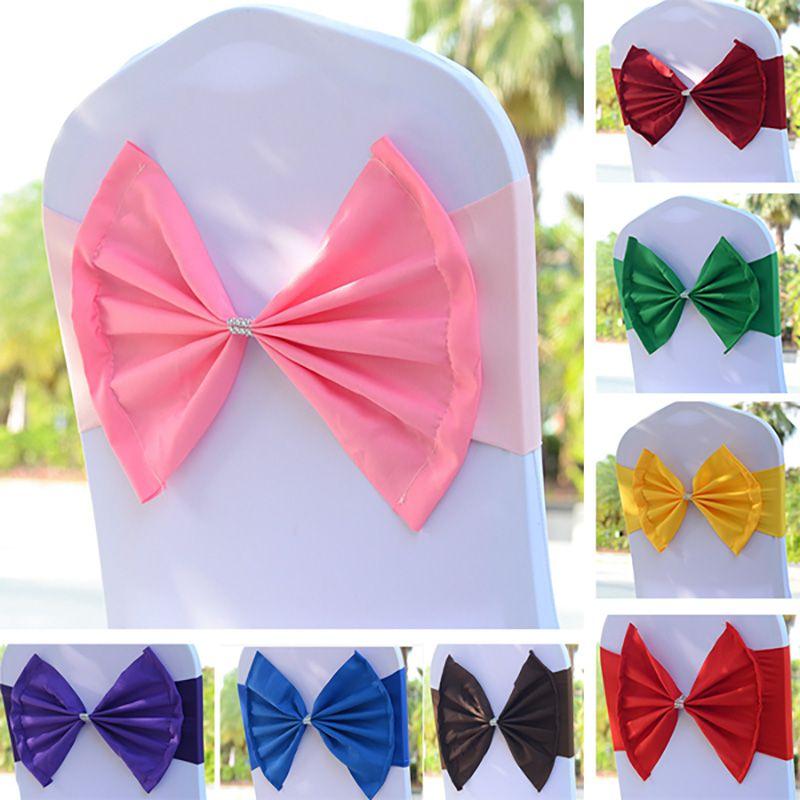 Elastic Stuhl-Band-Abdeckungen Schärpen für Hochzeitsfest-Abschlussball mit Band Buckle Spandex Bowknot Krawatte Stühle Sash Buckles Abdeckung HH7-943