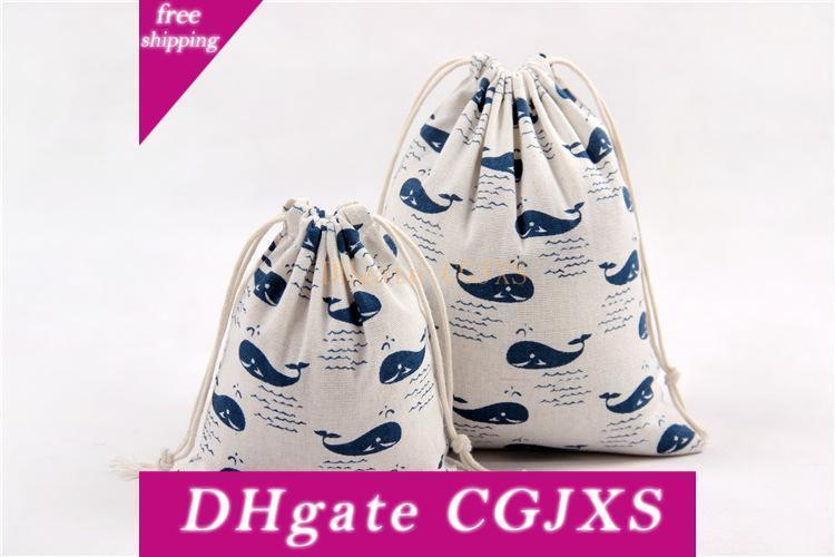 Em armazém !!! Presente de Natal DHL livre Bag Pure linho lona de algodão com cordão saco sacos com figuras baleia Xmas para presentes dos doces