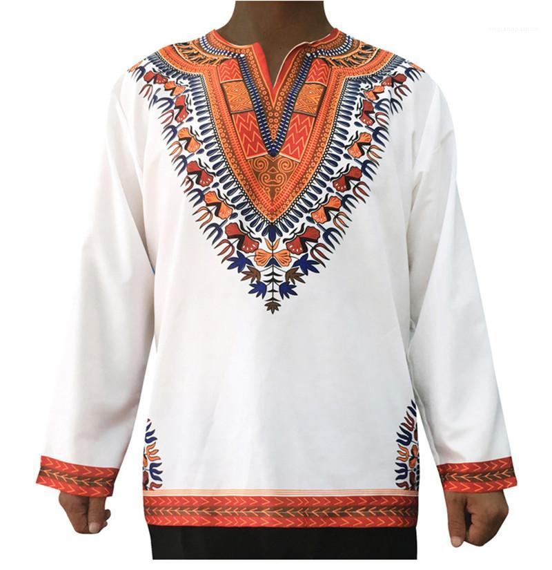T-shirts Les hommes Vêtements décontractés Vintage Hommes Designer T Fashion Style Folk Imprimer lambrissé Mens manches longues