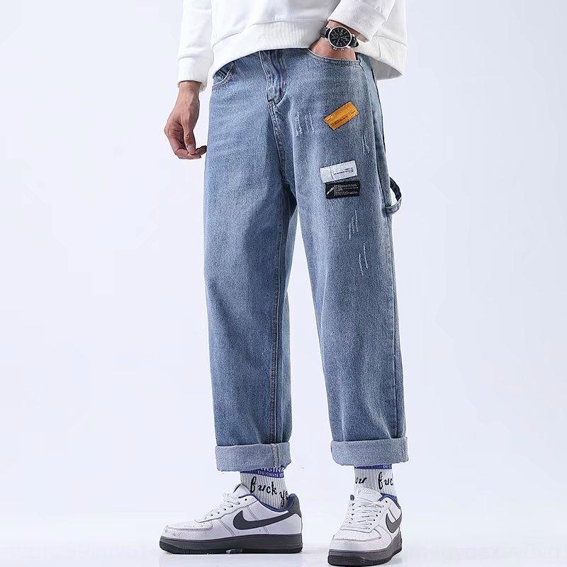 4yV1b рыхлой джинсы мужские брюки случайные студент пят мужской Корейский стиль прямой модно все соответствующие джинсы Широкие брюки ноги широко широко ноги Тре