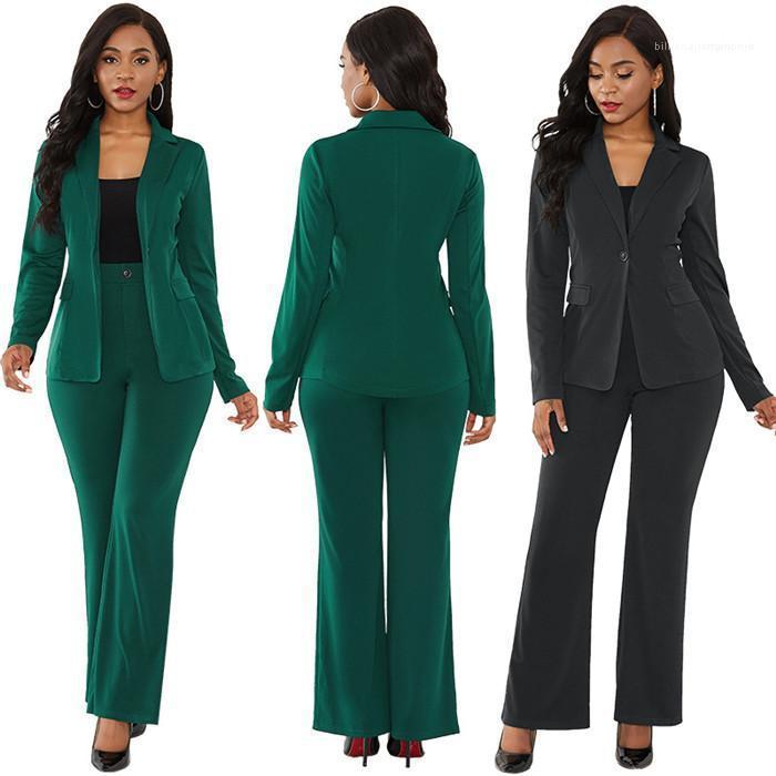 Anzüge Damen Blazer Fest 2ST Sets Winter-Frauen-elegante lange Hülsen-Mantel mit Bleistift-Hose-Klagen der Büro-Dame Outfit