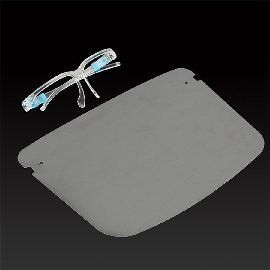 Máscara de protección para toda la cara con los vidrios adulto Escudo de Fibra Óptica reutilizable transparente visera de la cabeza del trabajo Protección para los ojos DDA585