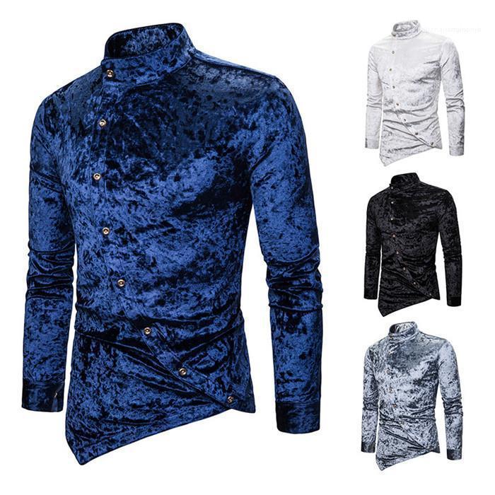 Langarm-Einreiher Slim Fit Shirt Homme Mode Kleidung Mens unregelmäßige Rand-Hemd-Revers-Neck