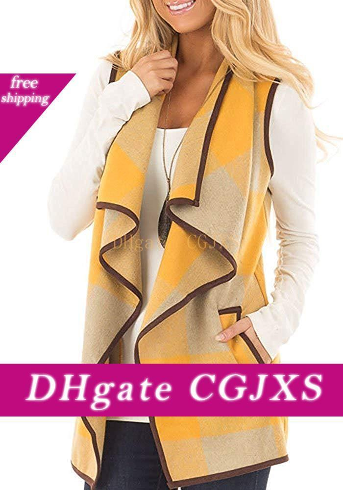 Womens Open Plaid Vest Lapel Sleeveless Outerwear Cardigan Vest With Pockets For Women