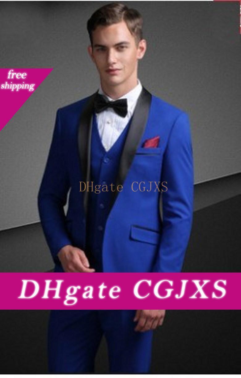 Handsome Un pulsante blu smoking dello sposo scialle risvolto Uomini Wedding Party Groomsmen 3 Pezzi Abiti (Jacket Pants Vest Tie) K134