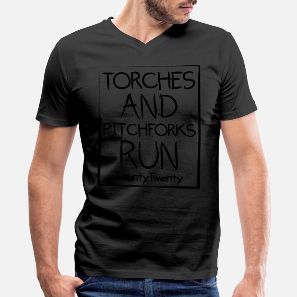 720 Torches And Pitchforks Run 2020 T Shirt Men Character Tee Shirt O Neck Slim Fit Humor Spring Kawaii Shirt