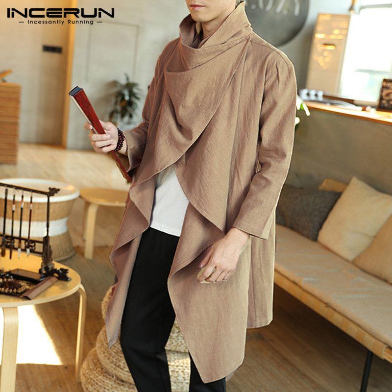 Men Trench Fashion Turtleneck 2020 New Fasion Ponchos Capes Cloak Cotton Long Sleeve Casual Streetwear Windbreaker