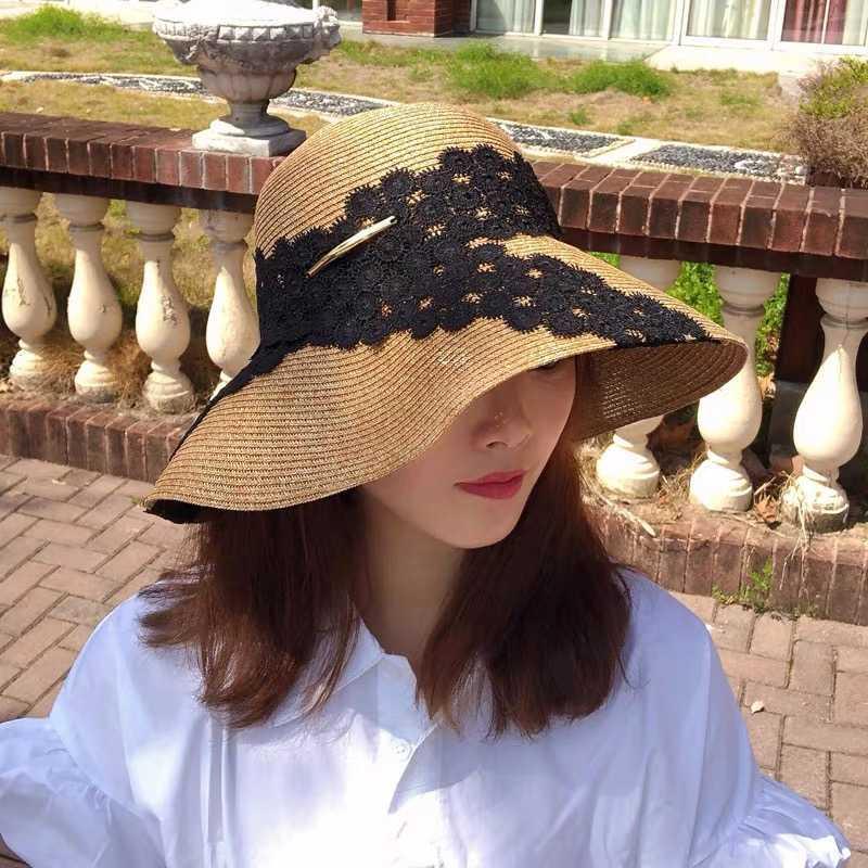 Новые высокого качества лета женщин ВС Hat Широкий Брим Packable Anti-UV соломенной шляпе белый черного кружева цветок Клош Бич Caps 55-59cm