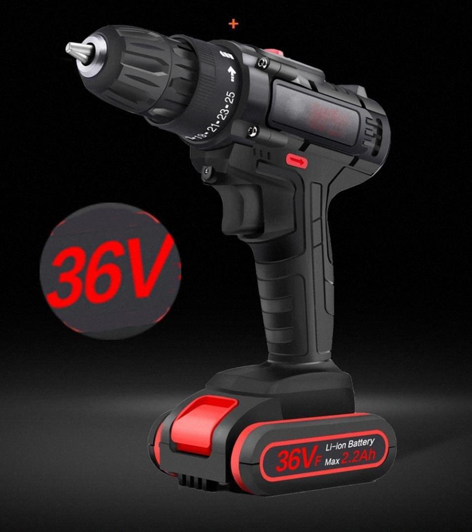 36V 50Nm 25 velocidad de perforación de par doble velocidad sin escobillas eléctrica sin cuerda Destornillador Martillo iluminación LED Wu0u #