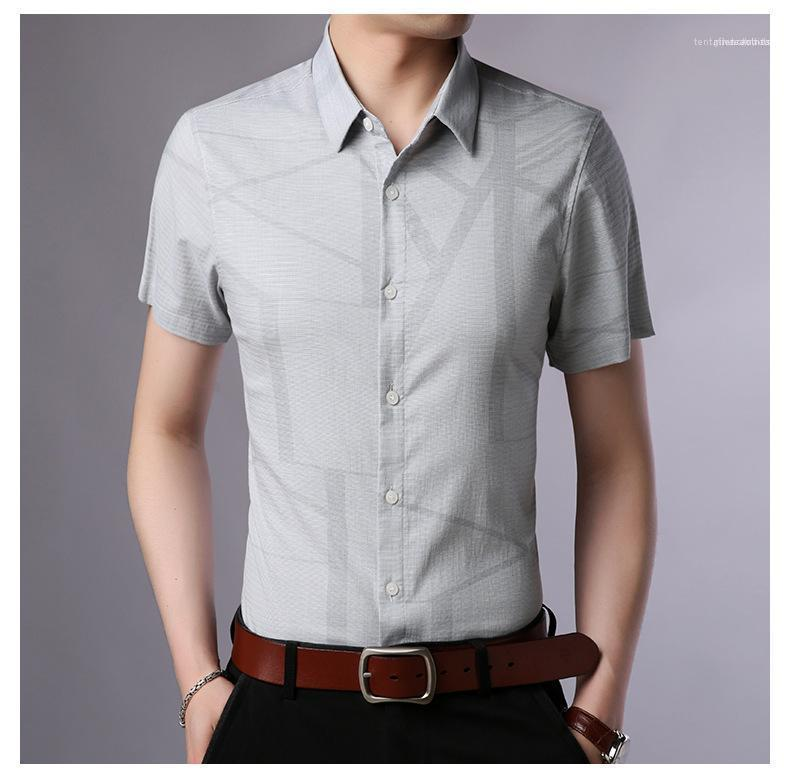Manica corta Camicie adolescenti di colore solido camice casuali Moda girocollo Maschio Abbigliamento Estate Uomo Designer