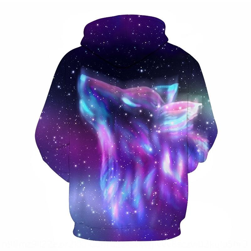 1O7xT men's feather printed digital Wolf clothing hooded sweater 3D couple sweater hoodie Sports loose hoodie