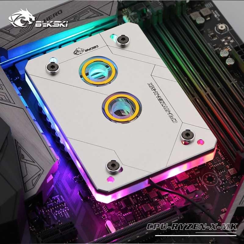Bykski CPU Water Block use for AMD RYZEN3000 AM3 AM3+ AM4 1950X TR4 X399 X570 Motherboard /5V 3PIN RGB Light to Motherboard AURA