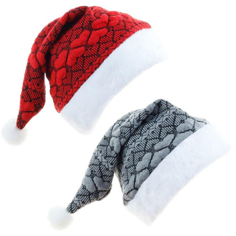 Männer Frauen gestrickter Stoff Plüsch Weihnachtsmütze Christmas Party Cosplay Kopfbedeckung Erwachsene Role Play Hut Kopfbedeckung Dekoration