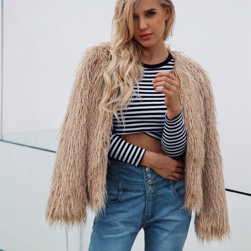 Casaco feminino 2020 mulheres senhoras casaco de pele de pele quente jaqueta de casaco sólido de inverno plus size S-3XL Outerwear Fourrure Femme