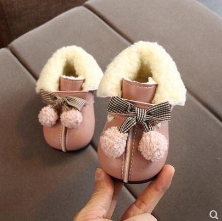 Inverno sapatos da menina com veludo macio sapatos princesa do bebê com botas grossas criança fundo nCUQ #
