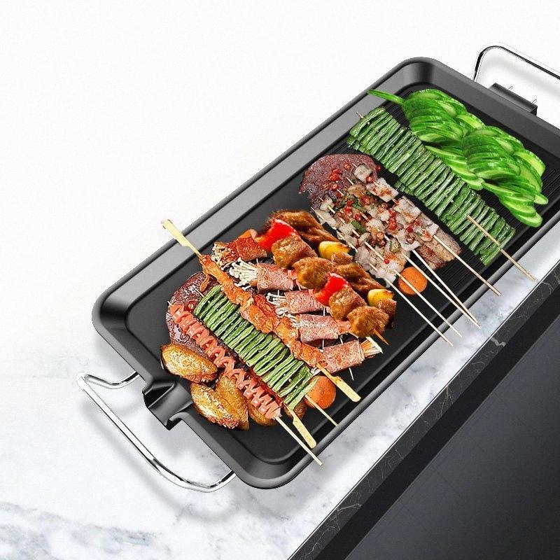 Elektrogrill Haushalts Non Stick Elektro Smokeless Barbecue-Maschine Edelstahlrohr Waschbar Raclette Grill kaufen A Tent Camping Jitu #