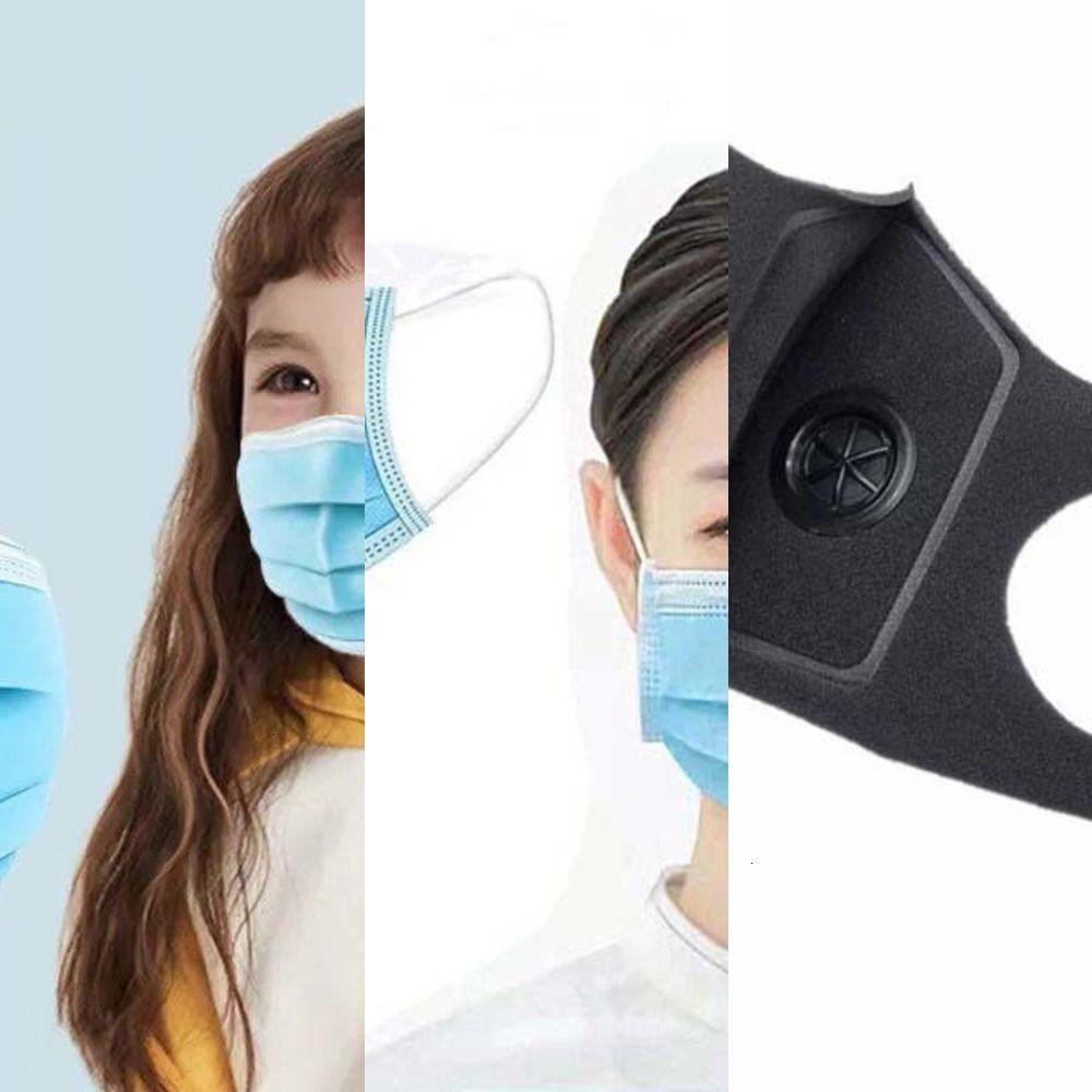 Camadas Máscaras 5 dos desenhos animados linda dupla face proteção do filtro de respiro válvula reutilizável Dustproof S MK6C