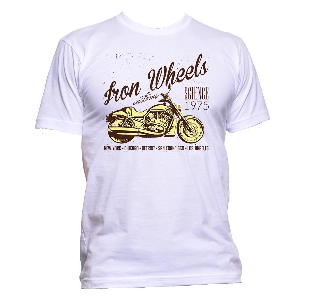 Enfriar 2019 del nuevo del verano Camiseta del hierro Ruedas moto de la motocicleta camiseta Lema para mujer para hombre unisex del algodón de la camiseta