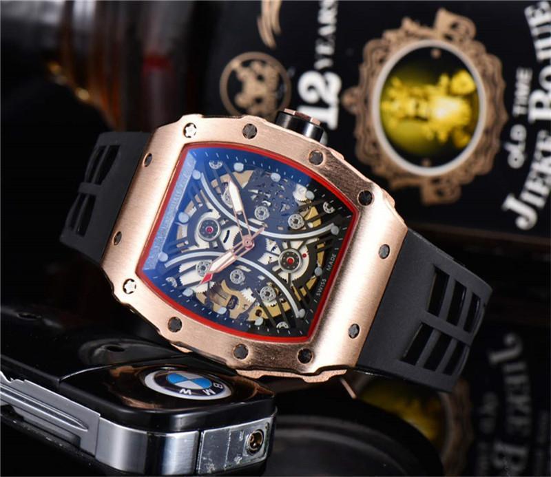 الحركة الشعبية للرجال الرياضة ساعة اليد الكلاسيكية تصميم الفولاذ المقاوم للصدأ رجالي ساعات رياضية التلقائية الميكانيكية ووتش الشريط المطاط ساعة MONTRE
