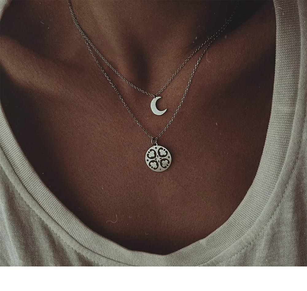 Neue europäische und amerikanische Art und Weise Halskette zweilagige Mond vierblättrige Kleeblatt Halskette Frauen Allgleiches
