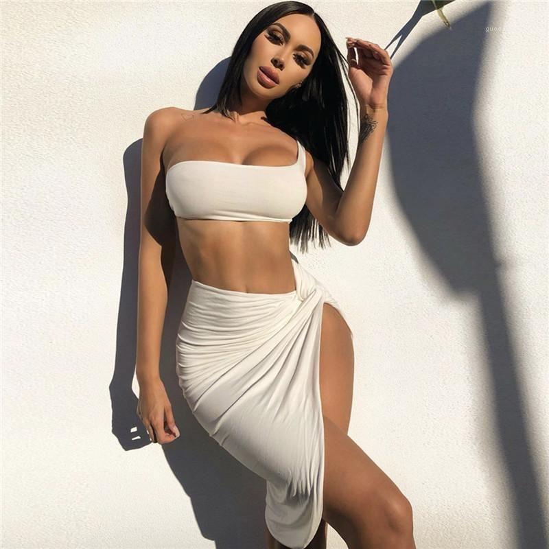 Moda Natural Color vestiti sexy senza spalline Womens Crop Abiti Split Desinger Two Piece Dress