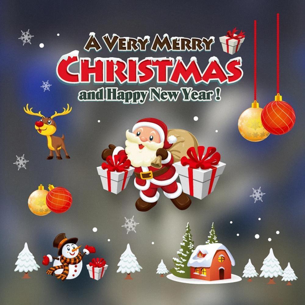 Decorazioni Taoup Buon Natale Adesivi Natale Per la casa natale parete vetrofanie Noel 2018 Navidad Babbo Natale Capodanno Ebel #