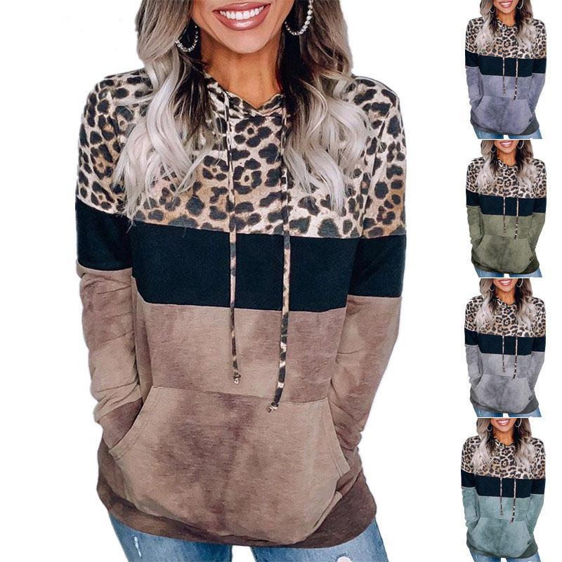 Sudadera con capucha de leopardo del remiendo del otoño invierno las mujeres del diseñador sudaderas con capucha con los bolsillos ocasionales de los deportes de ropa tapas de las mujeres