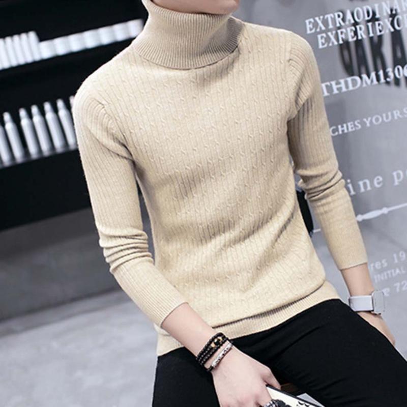 Caliente ocasional de los hombres espesa el calentamiento de cuello alto color sólido de manga larga suéter de punto superior Sliming algodón / spandex Hombres del suéter