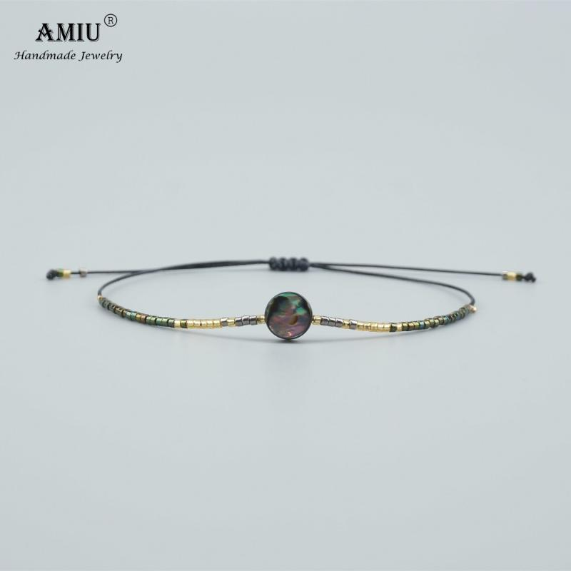 AMIU natural hecho a mano Shell del olmo del grano de pulseras brazaletes para las mujeres y los hombres hechos a mano nudos de la cuerda MIYUKI Semilla bolas pulsera