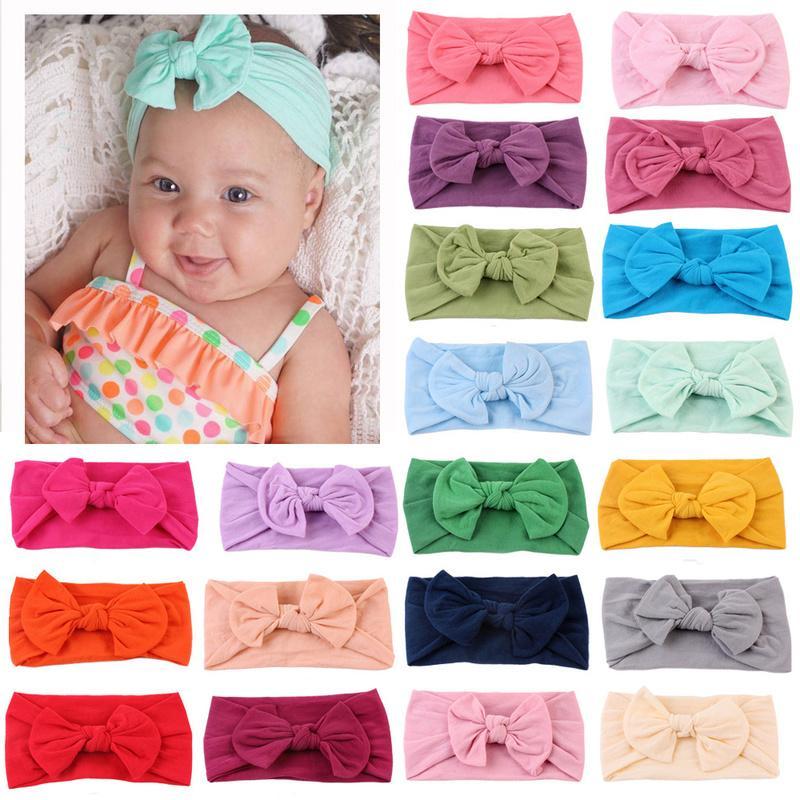 21 colores Diadema de nylon para niñas bebé Bebé Bebé Soft Bow Knot Turban Bandas para el cabello Bebé Accesorios para el cabello para niños Diewwear