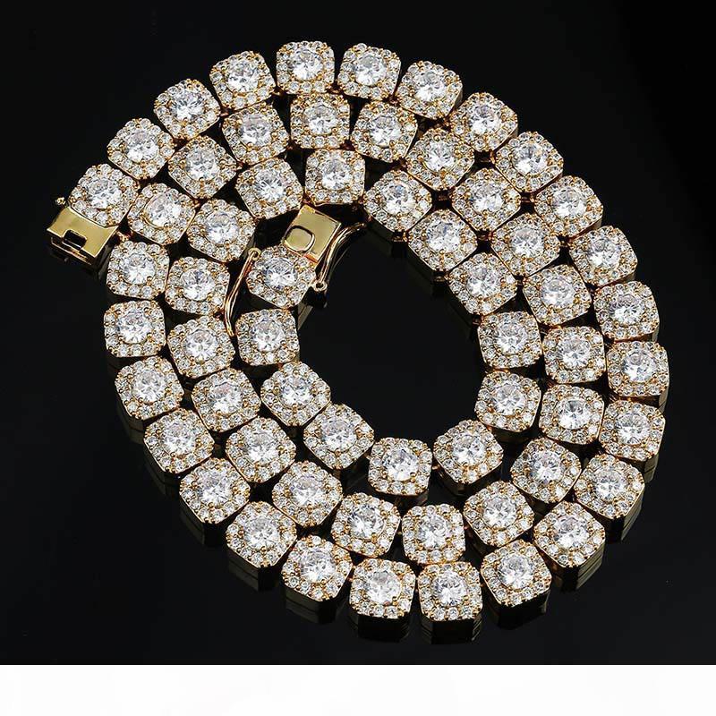 10 mm Largeur Hiphop bling Gold Chains Hommes 18k Micro Pave Zircon Colliers Cuivre Bijoux Cadeau