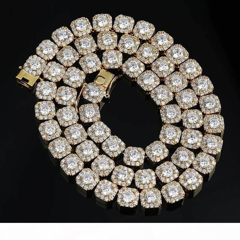 10mm Breite Hiphop Bling Ketten Mens 18K Gold überzogenes Mikro pflastern Zircon Ketten Kupfer Schmuck-Geschenk