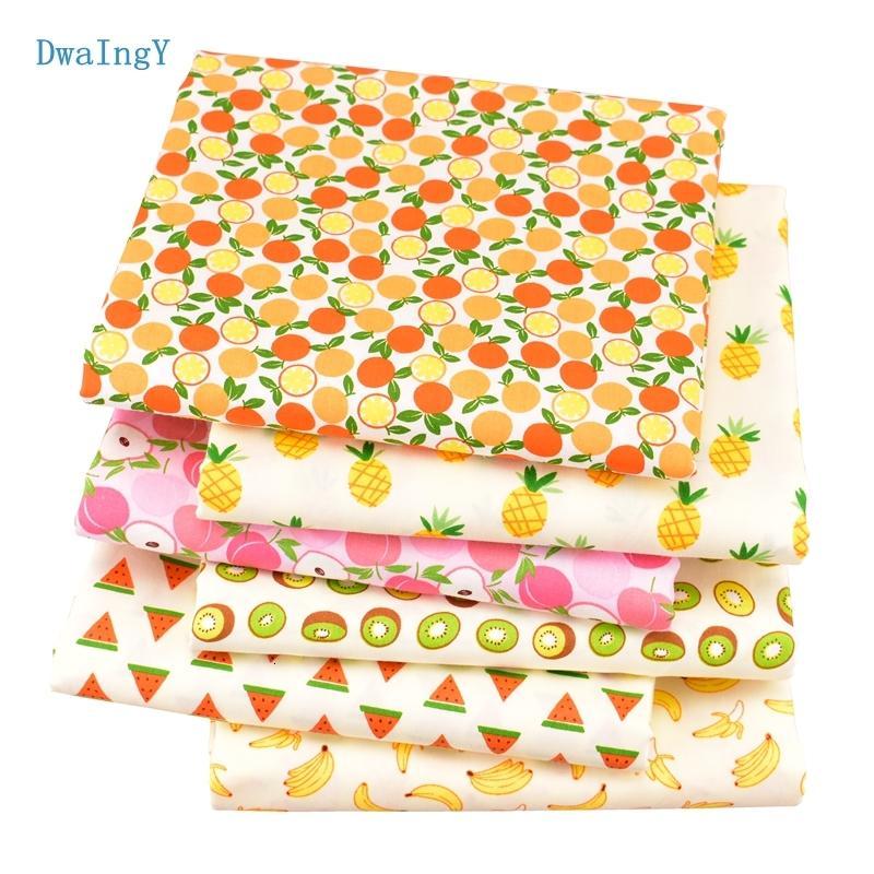 6pcs DwaIngY / Serie de la fruta montón de sarga de algodón tela para el remiendo DIY de coser acolchar tela Cuartos gordos del material En la muñeca
