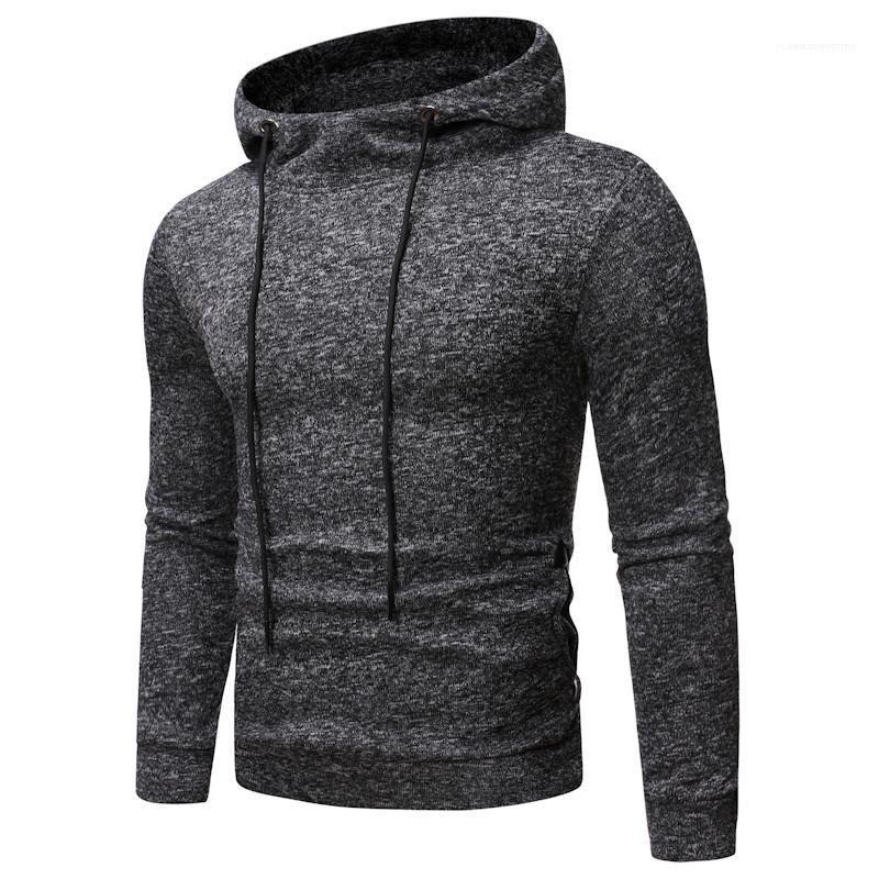 Streak manches longues couleur solide Hommes Vêtements Printemps Hommes Slim Fold Designer Fashion Sweats à capuche Sweat-shirt