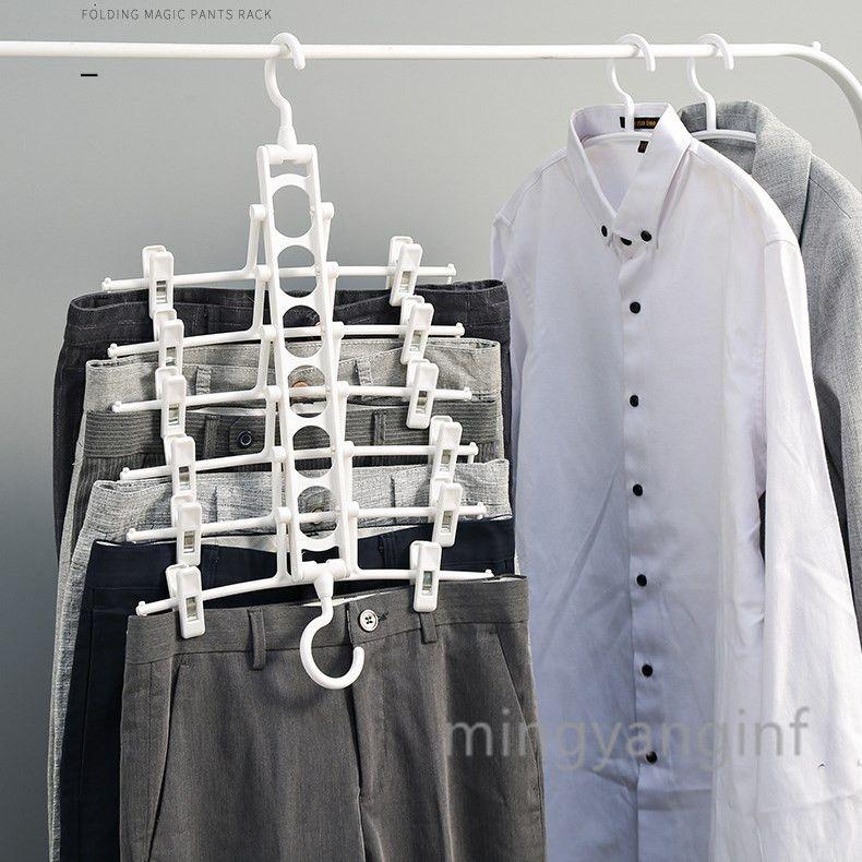 للطي متعدد الوظائف متعدد الطبقات سروال الرف سروال مجلس الوزراء الحظيرة المنزلية تخزين مجلد الرف التنورة منظم متعدد الطبقات شماعات W003