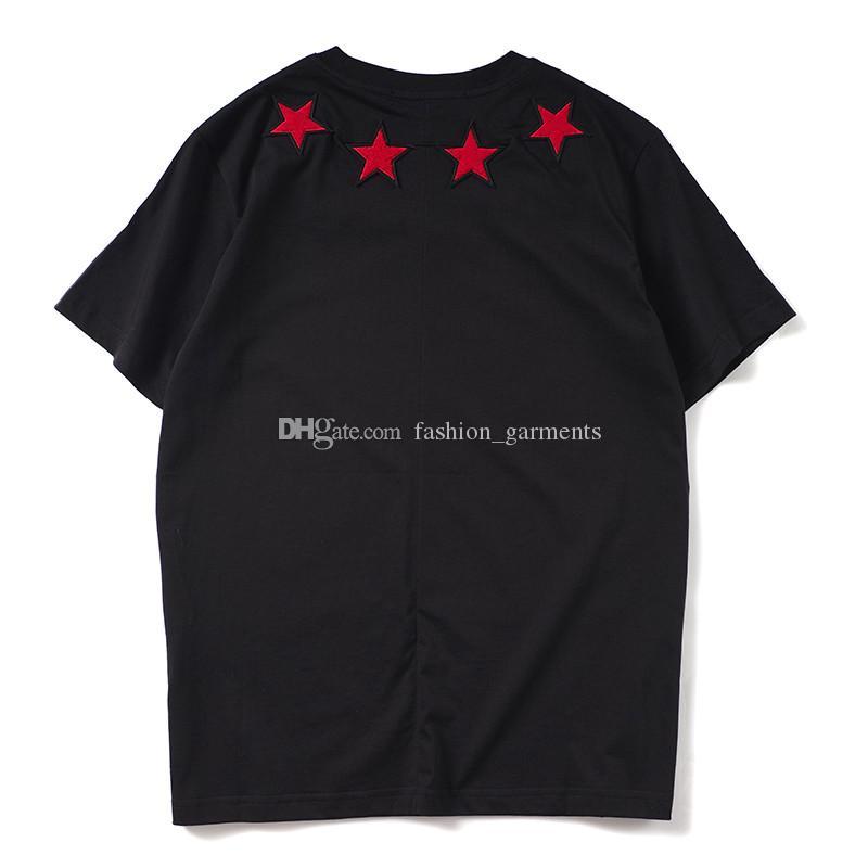 Moda Tasarımcısı T Gömlek Erkek Giyim Erkek Kadın Kısa Kollu Beş Yıldızlı Flok Baskı Tees Sivri