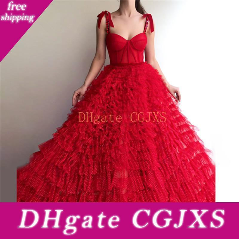 Red Long Prom Dresses 2020 A Line Spaghetti Straps Lace Crystals Islamic Dubai Saudi Arabic Layered Ruffles Formal Party Evening Gowns