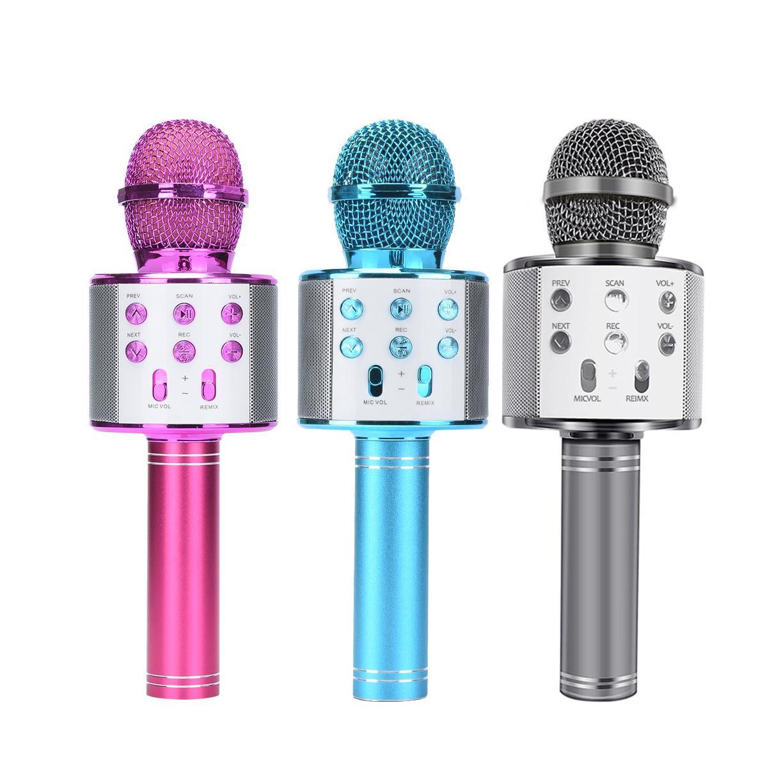 Bluetooth Microfone sem fio WS858 Handheld Karaoke Mic USB KTV Jogador Bluetooth Speaker música gravada Microfones WS858