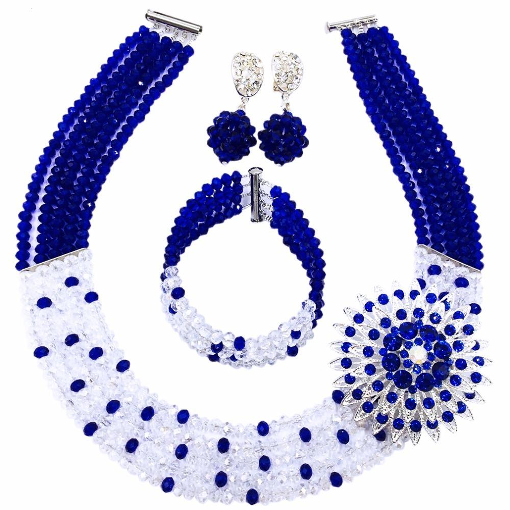 Amazing! Royal Blue Transparent Crystal Beaded Nigerian Wedding African Beads Jewelry Set for Women Girls 5L-ZJ009
