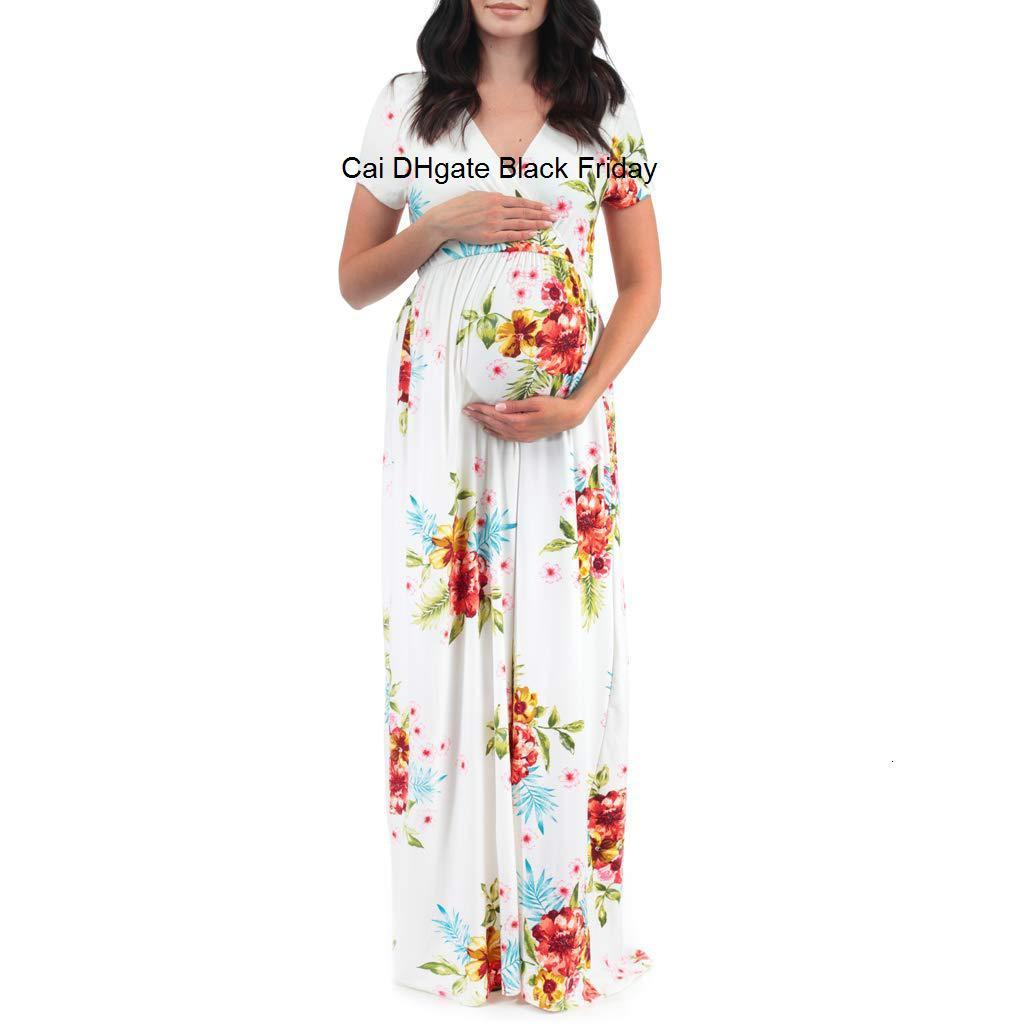 Maternity Dress Short Sleeve Pregnancy Dress Women Pregnants Maternity Clothes Floral Printed Beach Long Dresses Sundress M60