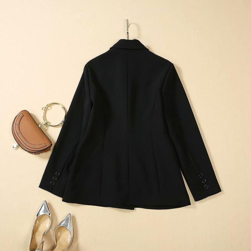 rRehU 2019 automne nouveau costume même lettre brodé de vêtements pour femmes Qi Wei top à double boutonnage long manteau noir brodé manteau manches