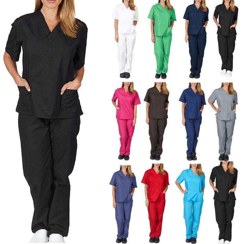 Compre Para Mujer De Dos Piezas De Ropa De Trabajo Uniformes De Enfermeria Scrubs Ropa Moda Para Mujer Tops Manga Corta Con Cuello En V Camisa Pantalones Ropa Usada A 14 01