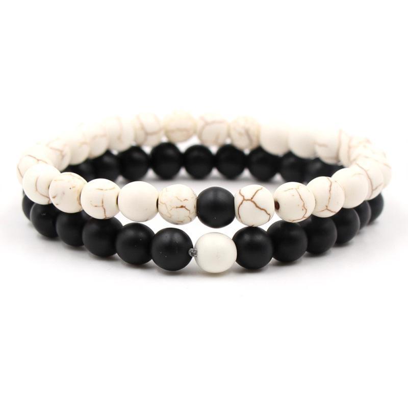 Nueva Distancia 2 PC / amantes de la moda de la pulsera del varón blanco y negro, Yin y Yang son perlas pulsera de piedra natural para las mujeres rudos