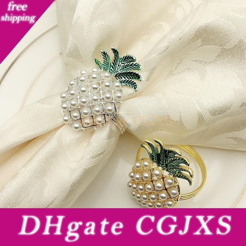 Frete grátis pérolas de imitação Ouro Prata abacaxi anéis de guardanapo para decoração de mesa Jantar de casamento Acessórios W9963