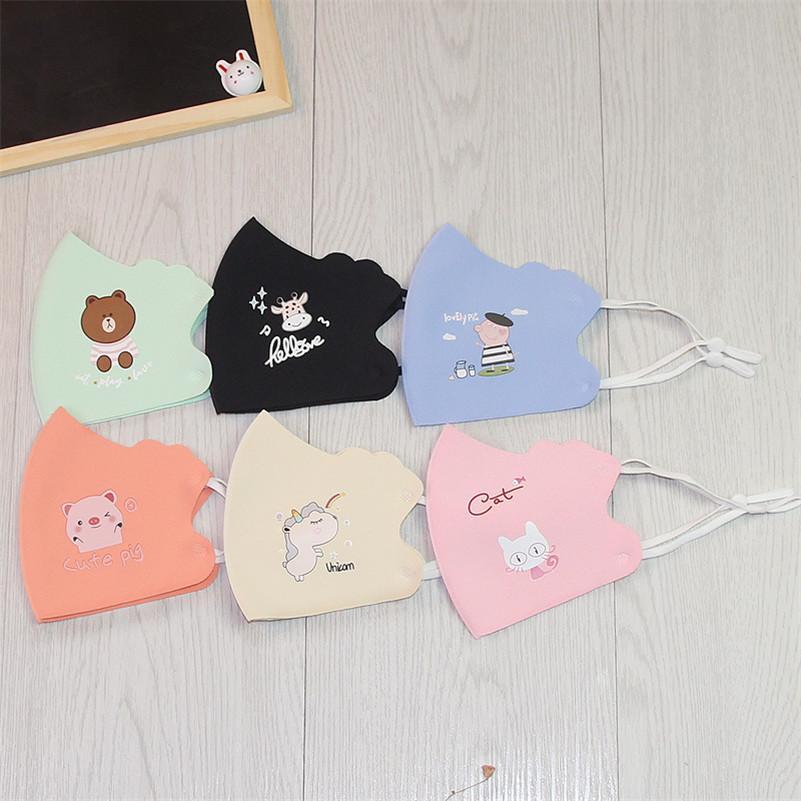 500 Stück Spaß-Cartoon-Tier-Eis-Silk Staubmundmasken Schutz Kinder Unregelmäßige Bequeme Maske faltbare Wasserdicht Mouth-Muffel
