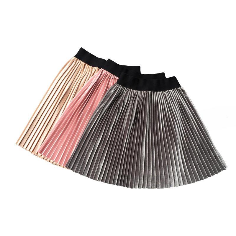 Nuovo velluto Primavera Estate casual Smooth ragazze del pannello esterno del tutu a vita alta elastico pieghe Gonne Costume Student